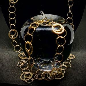 "14k 20""L Circular Chain Link Necklace w/Bracelet"